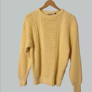 Yellow Knit Fisherman Sweater Jumper 100% Cotton